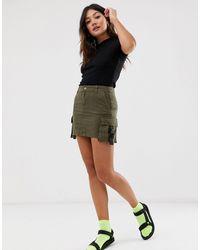 Bershka Minifalda utilitaria en verde