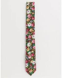 Ben Sherman Tie With Floral Lapel Pin Set - Pink