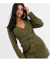 Missguided Belted Denim Dress In Khaki - Green