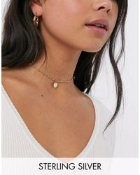 Kingsley Ryan Exclusive Sterling Silver Gold Plated Ball Choker Necklace With Circle Pendant - Metallic
