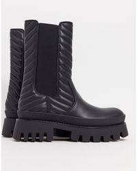 Bershka Черные Ботинки На Массивной Подошве С Эластичными Вставками -черный