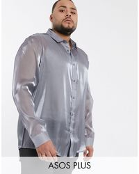 ASOS Plus Regular Fit Silver High Shine Shirt - Metallic