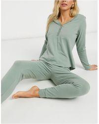 Lindex Пижамные Штаны Из Органического Хлопка Пыльно-зеленого Цвета Astrid-зеленый Цвет