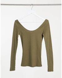 River Island Long Sleeved Scoop Neck T-shirt - Green