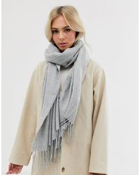 Pieces Oversized Tassel Scarf - Gray