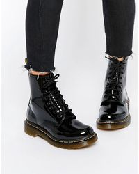 Dr. Martens Delaney Patent Leather Boots - Black