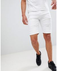 Good For Nothing - Skinny Denim Shorts With Rips In White - Lyst