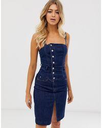Miss Sixty Vestito di jeans con spalline e logo - Blu