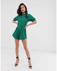 ASOS Puff Sleeve Mandarin Collar Playsuit In Jacquard - Green