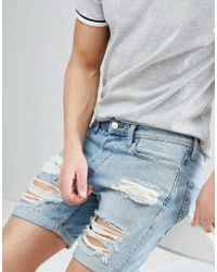 Jack & Jones - Denim Shorts With Heavy Distressing - Lyst