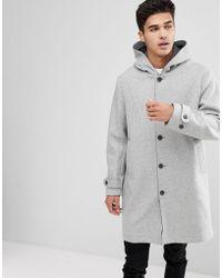 Mango - Man Hooded Wool Coat In Gray - Lyst