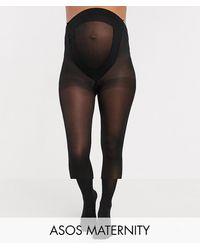 ASOS ASOS DESIGN Maternity - Confezione da 2 collant 50 denari neri nuova vestibilità migliorata - Nero