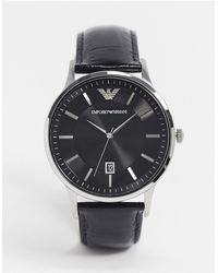 Emporio Armani - Черные Часы С Кожаным Ремешком Ar11186-черный - Lyst