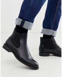 SELECTED Leather Chelsea Boots - Black