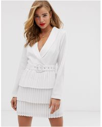 In The Style X Dani Dyer Plunge Front Blazer Dress With Pleated Skirt - White