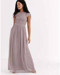Little Mistress Lace Insert Drape Maxi Dress - Purple