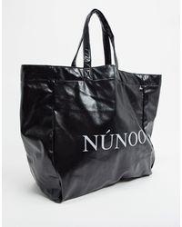Nunoo Tote bag avec logo en PU vegan - Noir