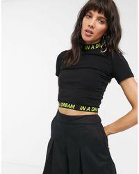 Dr. Denim In A Dream Slogan Mockneck Crop T-shirt - Black