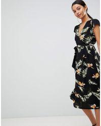 AX Paris - Leaf Print Belted Midi Dress - Lyst