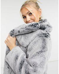 TOPSHOP Two Tone Faux Fur Jacket - Grey