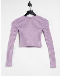 Pull&Bear - Сиреневый Топ В Рубчик Из Мягкой Ткани С Длинными Рукавами -фиолетовый Цвет - Lyst