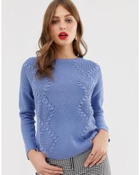 Oasis - Cable Knit Jumper In Blue - Lyst