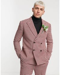 ASOS Wedding Slim Double Breasted Suit Jacket With Large Houndstooth - Red