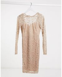 Flounce London Бежевое Кружевное Платье Миди С Фигурным Краем На Спине -розовый