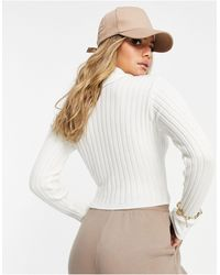 I Saw It First Knitted Roll Neck Cropped Jumper - Multicolour