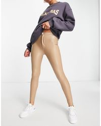 Pull&Bear Faux Leather Skinny Trousers - Natural