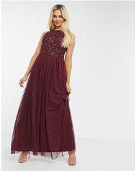 LACE & BEADS Sleeveless Embellished Maxi Dress - Red