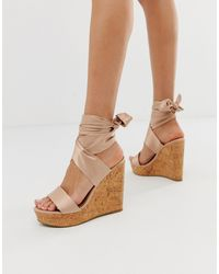 ASOS Twist Tie Leg Cork Wedges - Pink
