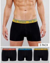 Ben Sherman 3 Pack Trunk With Colour Waistband - Black
