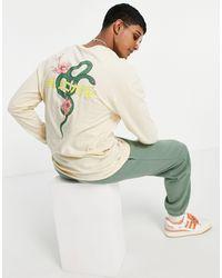Jack & Jones Originals Oversized Long Sleeve Top With Japanese Snake Back Print - Multicolour