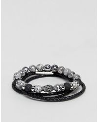 Seven London - Black Beaded & Wrap Bracelets In 2 Pack Exclusive To Asos - Lyst