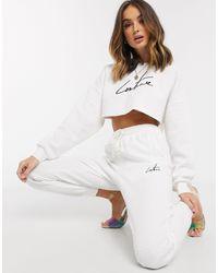 The Couture Club Jogger molletonné avec fini gaufré - Blanc