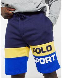 Polo Ralph Lauren - Темно-синие Флисовые Шорты В Стиле Колор-блок С Крупным Логотипом Sport Capsule-темно-синий - Lyst