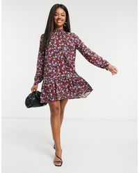 Stradivarius High Neck Collar Detail Dress - Multicolour