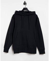 SELECTED Hoodie en coton biologique avec poche avant - Noir