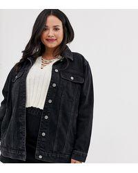 ASOS ASOS DESIGN CURVE - Veste girlfriend en jean - délavé - Noir