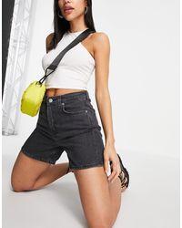 Weekday Frida Organic Cotton Denim Shorts - Black