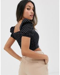 River Island Milkmaid Top - Black