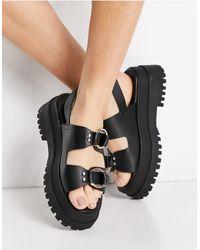 London Rebel Chunky Double Buckle Sandals - Black
