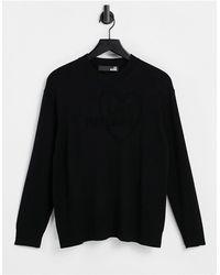 Love Moschino Черный Джемпер С Круглым Вырезом И Логотипом Спереди -черный Цвет