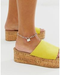 ASOS - Anklet In Hardware Chain With Padlock In Silver Tone - Lyst