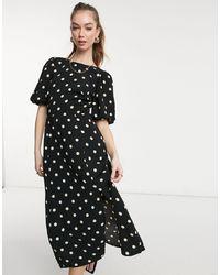 Warehouse Spot Puff Sleeve Midi Dress - Black