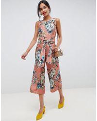 Vila - Floral Tie Waist Jumpsuit - Lyst