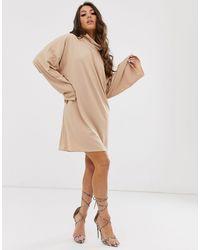 PrettyLittleThing Vestido estilo sudadera camel - Neutro
