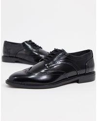 ASOS More Flat Lace Up Shoes - Black