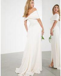 ASOS Beatrice Bardot Drape Wrap Wedding Dress - Multicolour